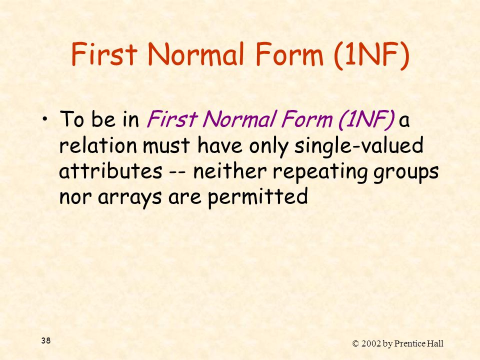 © 2002 by Prentice Hall 38 First Normal Form (1NF) To be in First Normal Form (1NF) a relation must have only single-valued attributes -- neither repe
