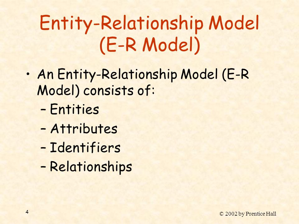 © 2002 by Prentice Hall 4 Entity-Relationship Model (E-R Model) An Entity-Relationship Model (E-R Model) consists of: –Entities –Attributes –Identifie