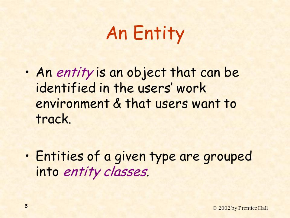 © 2002 by Prentice Hall 5 An Entity An entity is an object that can be identified in the users' work environment & that users want to track. Entities
