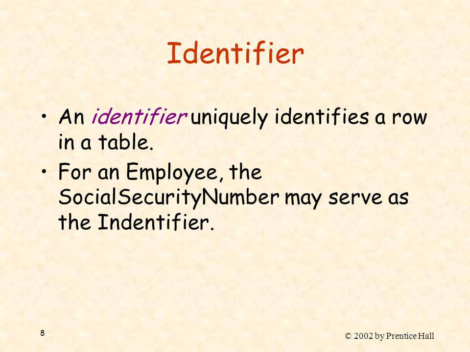 © 2002 by Prentice Hall 8 Identifier An identifier uniquely identifies a row in a table. For an Employee, the SocialSecurityNumber may serve as the In