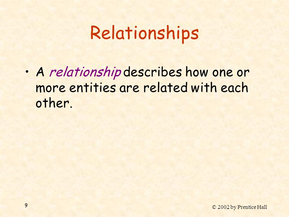 © 2002 by Prentice Hall 9 Relationships A relationship describes how one or more entities are related with each other.