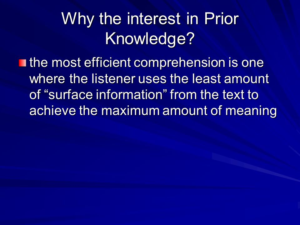 Why the interest in Prior Knowledge.
