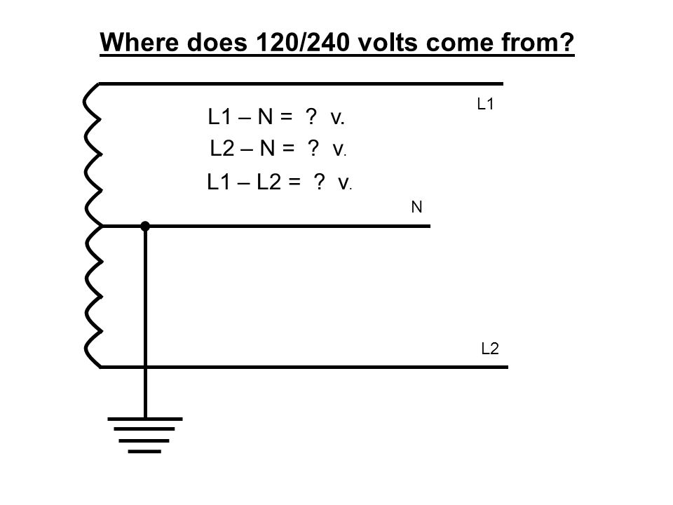 Where does 120/240 volts come from? L1 – N = ? v. L2 N L1 L2 – N = ? v. L1 – L2 = ? v.