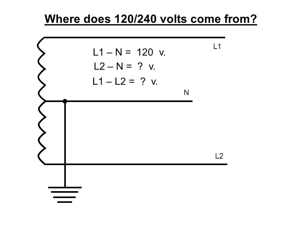 Where does 120/240 volts come from? L1 – N = 120 v. L2 N L1 L2 – N = ? v. L1 – L2 = ? v.