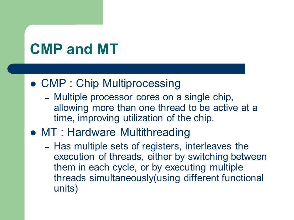 Examples CMPs – IBM's Power4 – Sun's Ultra Sparc IV MTs – Intel's hyper-threaded Pentium IV – IBM's RS64 IV