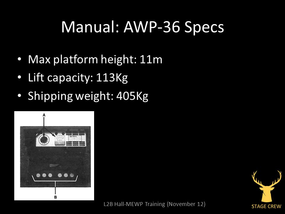 L2B Hall-MEWP Training (November 12) Manual: AWP-36 Specs Max platform height: 11m Lift capacity: 113Kg Shipping weight: 405Kg