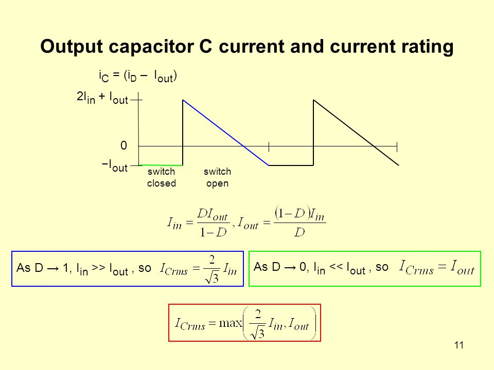 11 Output capacitor C current and current rating 2I in + I out −I out 0 As D → 1, I in >> I out, so i C = (i D – I out ) As D → 0, I in << I out, so switch closed switch open