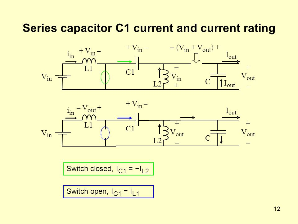 12 Series capacitor C1 current and current rating Switch closed, I C1 = −I L2 V in i L1 – V in + C1 + V in – L2 + V out – I C – (V in + V out ) + I out + V in – V in i L1 – V out + C1 + V in – L2 + V out – I C + V – Switch open, I C1 = I L1