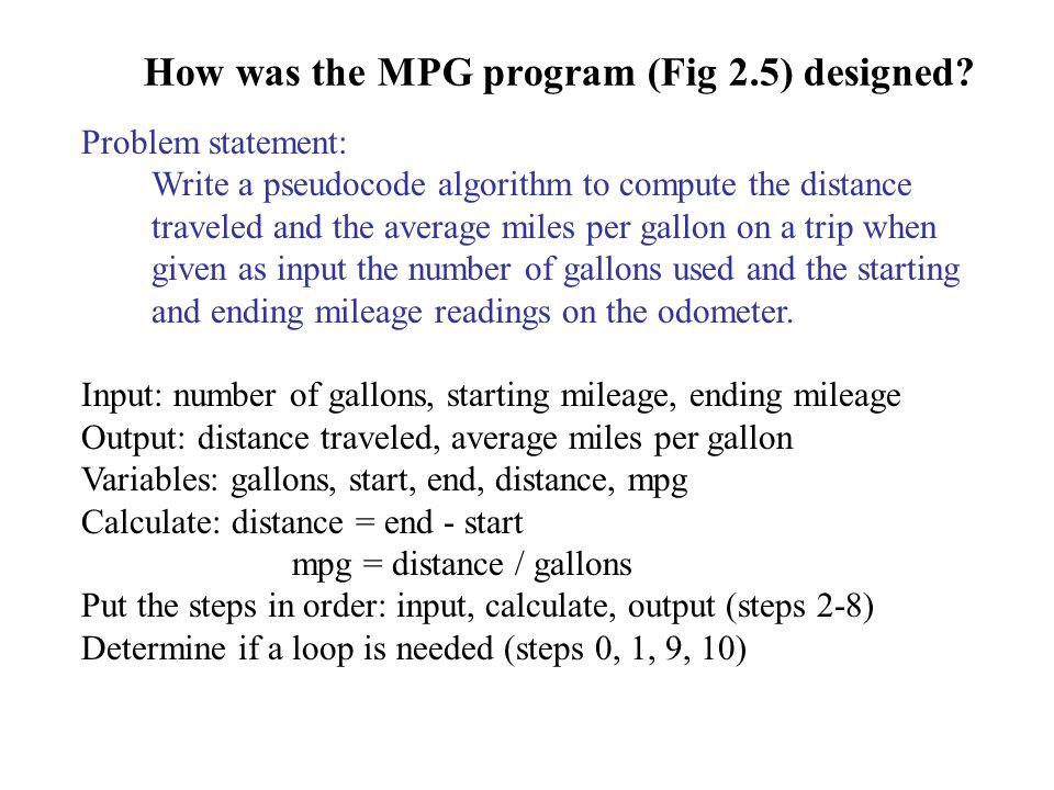 How was the MPG program (Fig 2.5) designed.