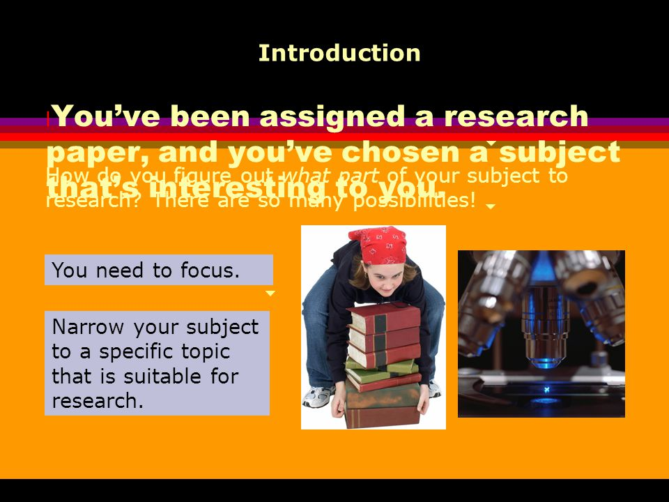 l You've been assigned a research paper, and you've chosen a subject that's interesting to you. Introduction How do you figure out what part of your s