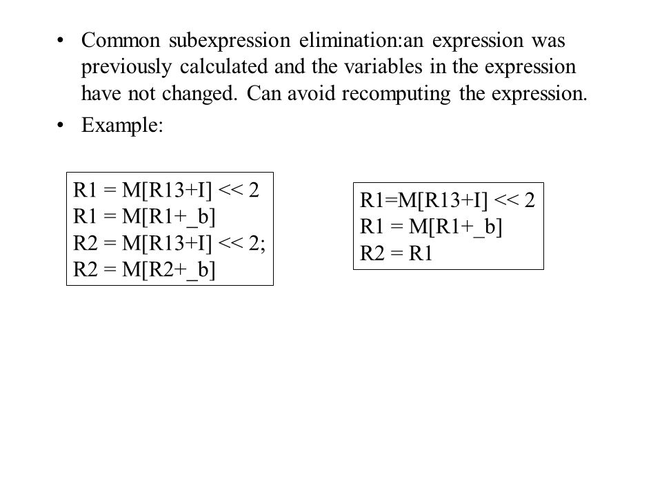 Common subexpression elimination:an expression was previously calculated and the variables in the expression have not changed.