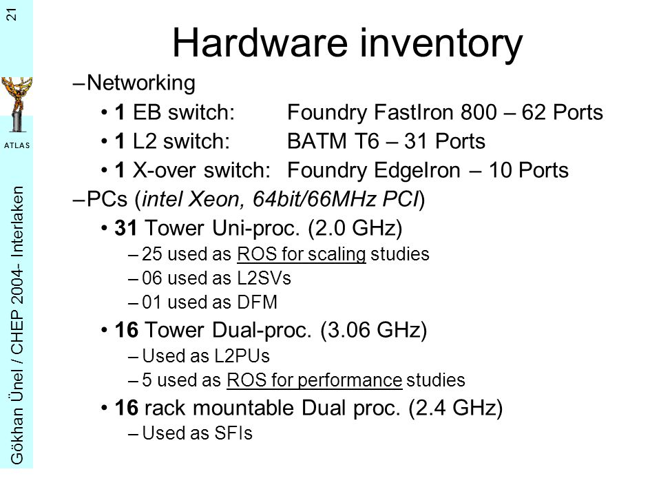 G ö khan Ü nel / CHEP 2004- Interlaken ATLAS 21 Hardware inventory –Networking 1 EB switch:Foundry FastIron 800 – 62 Ports 1 L2 switch:BATM T6 – 31 Ports 1 X-over switch:Foundry EdgeIron – 10 Ports –PCs (intel Xeon, 64bit/66MHz PCI) 31 Tower Uni-proc.