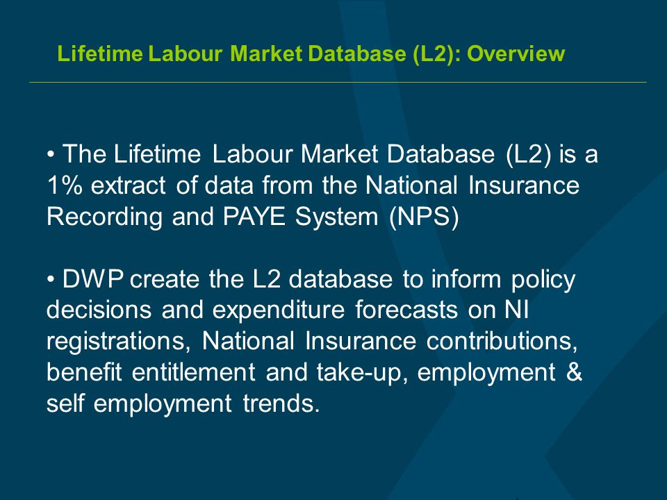 Lifetime Labour Market Database (L2): Overview The Lifetime Labour Market Database (L2) is a 1% extract of data from the National Insurance Recording
