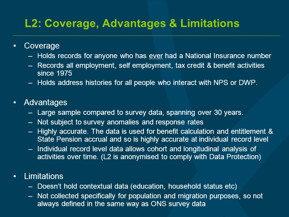L2: Coverage, Advantages & Limitations Coverage –Holds records for anyone who has ever had a National Insurance number –Records all employment, self e