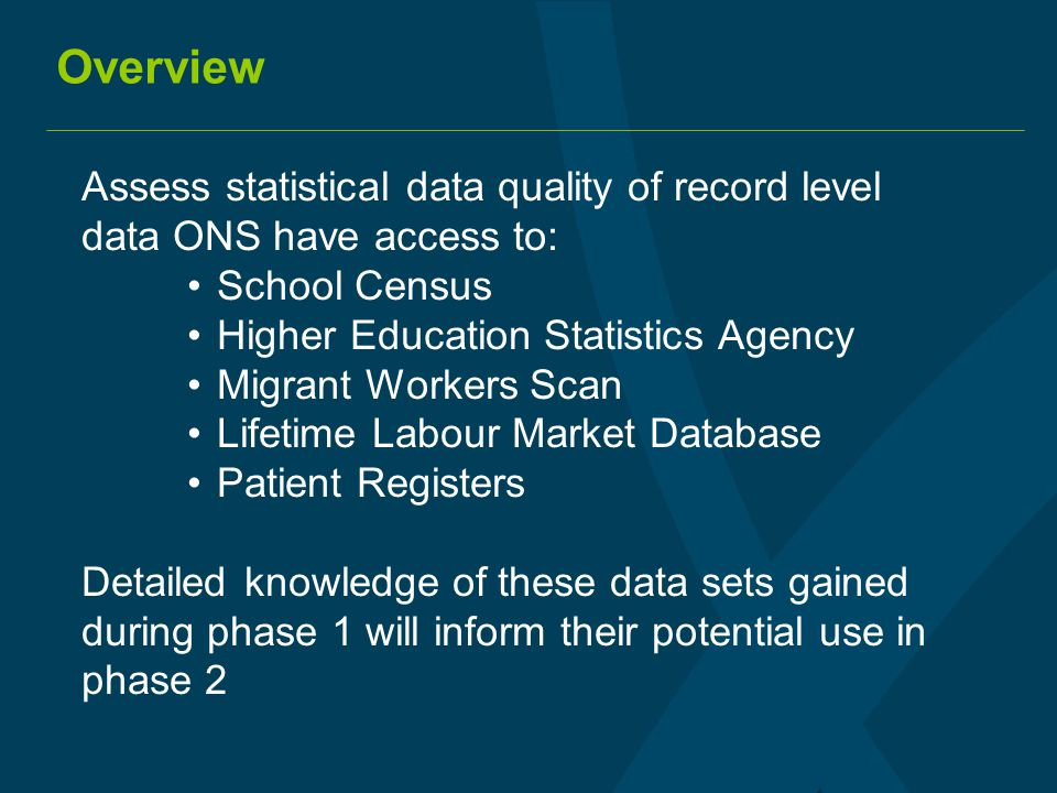 Overview Assess statistical data quality of record level data ONS have access to: School Census Higher Education Statistics Agency Migrant Workers Sca
