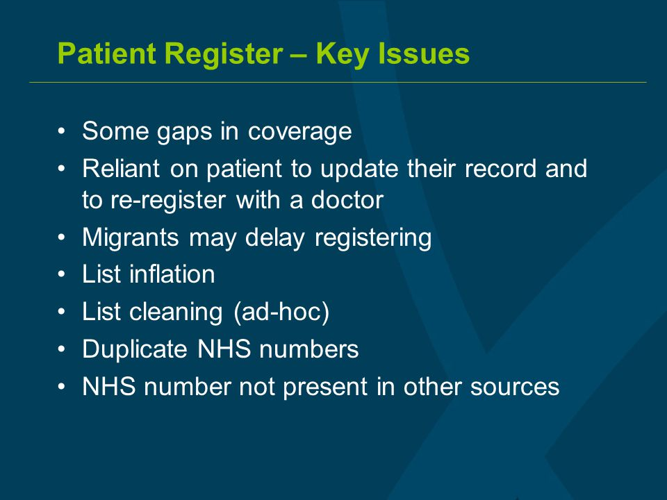 Patient Register – Key Issues Some gaps in coverage Reliant on patient to update their record and to re-register with a doctor Migrants may delay regi