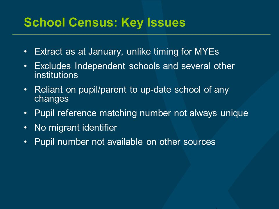 School Census: Key Issues Extract as at January, unlike timing for MYEs Excludes Independent schools and several other institutions Reliant on pupil/p