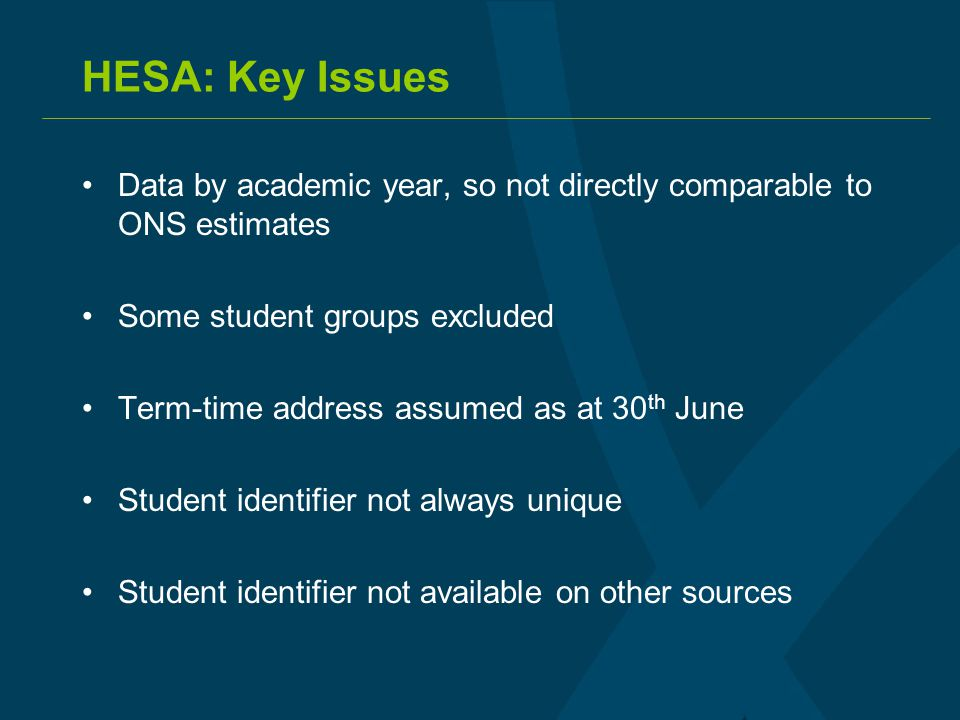 HESA: Key Issues Data by academic year, so not directly comparable to ONS estimates Some student groups excluded Term-time address assumed as at 30 th