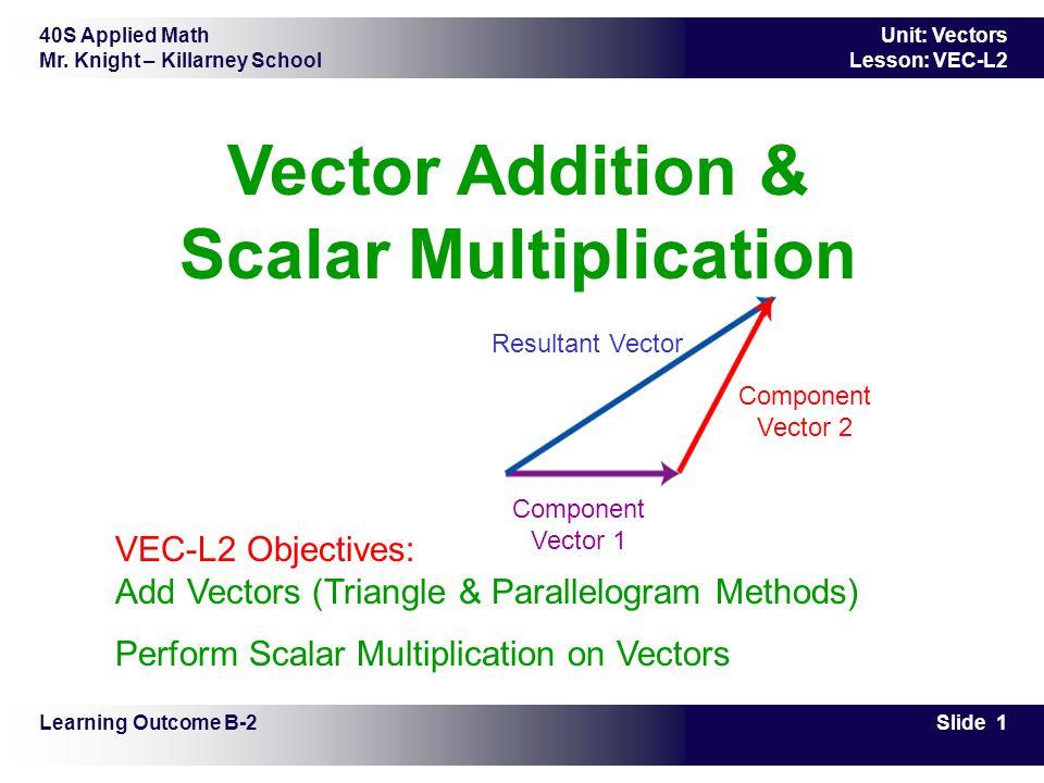 40S Applied Math Mr. Knight – Killarney School Slide 1 Unit: Vectors Lesson: VEC-L2 Vector Addition & Scalar Multiplication Learning Outcome B-2 VEC-L
