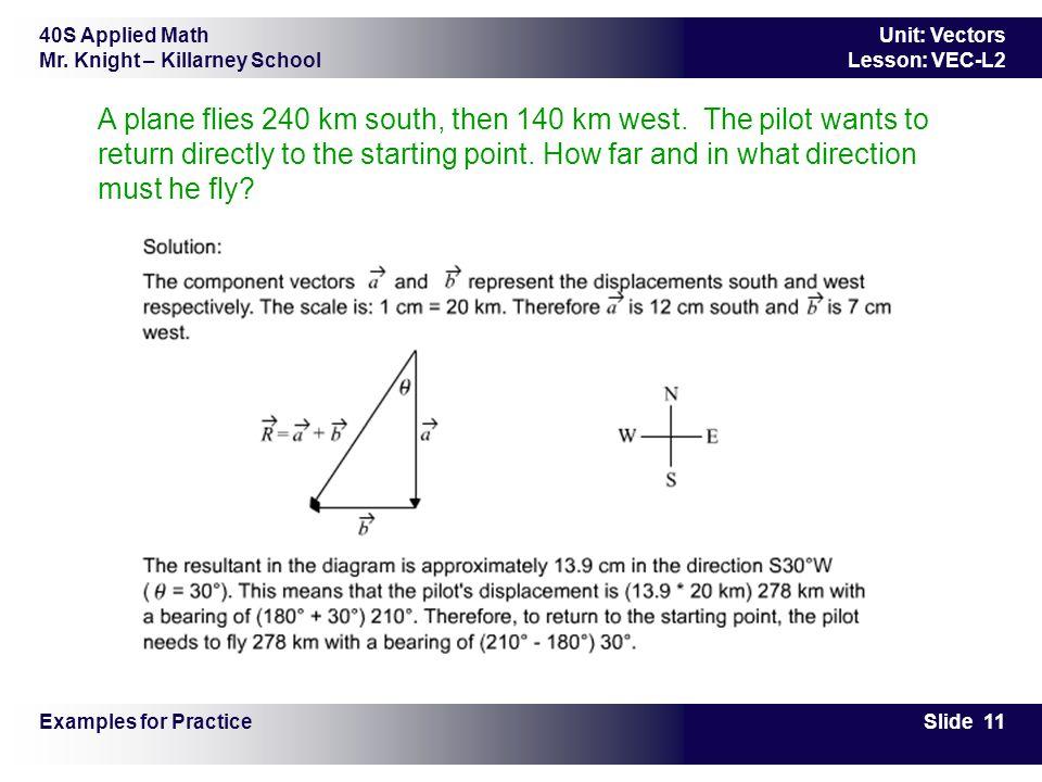 40S Applied Math Mr. Knight – Killarney School Slide 11 Unit: Vectors Lesson: VEC-L2 A plane flies 240 km south, then 140 km west. The pilot wants to