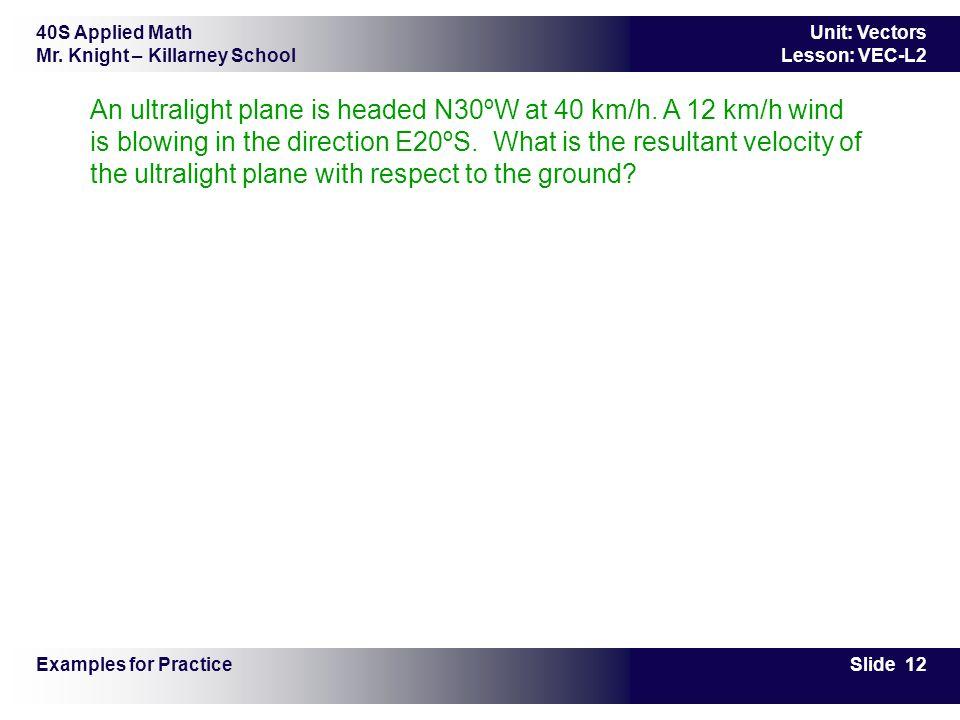 40S Applied Math Mr. Knight – Killarney School Slide 12 Unit: Vectors Lesson: VEC-L2 An ultralight plane is headed N30ºW at 40 km/h. A 12 km/h wind is