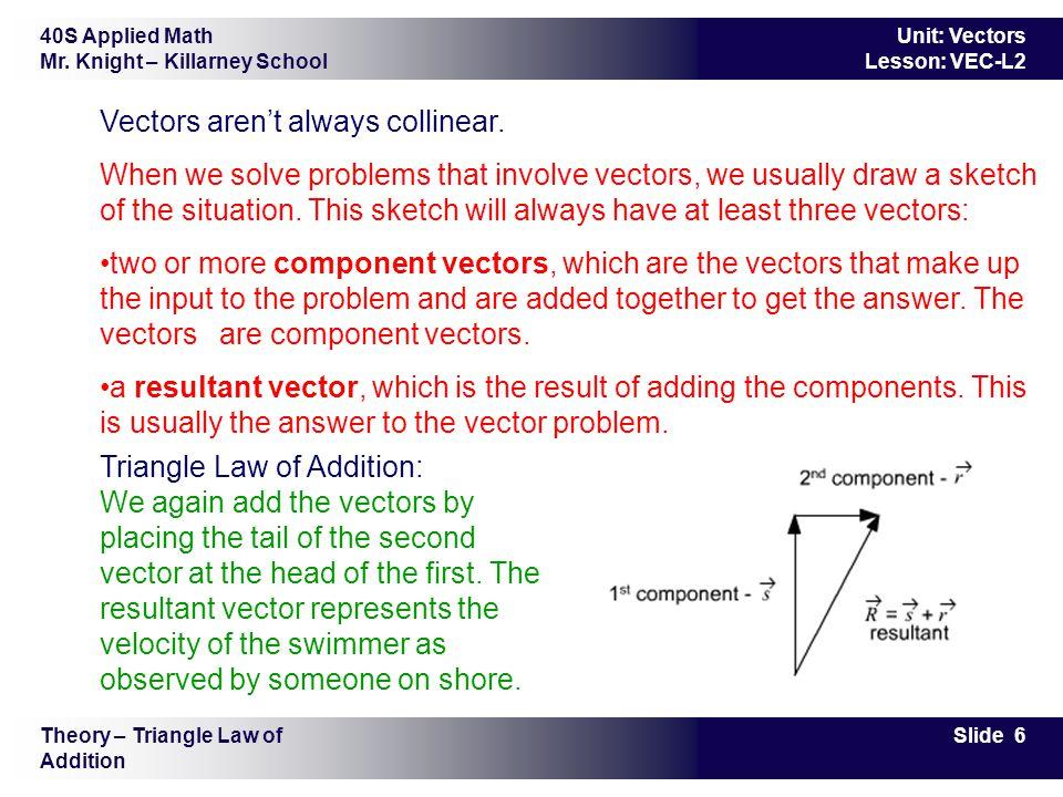 40S Applied Math Mr. Knight – Killarney School Slide 6 Unit: Vectors Lesson: VEC-L2 Vectors aren't always collinear. When we solve problems that invol