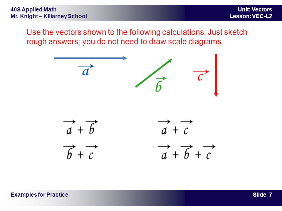 40S Applied Math Mr. Knight – Killarney School Slide 7 Unit: Vectors Lesson: VEC-L2 Use the vectors shown to the following calculations. Just sketch r