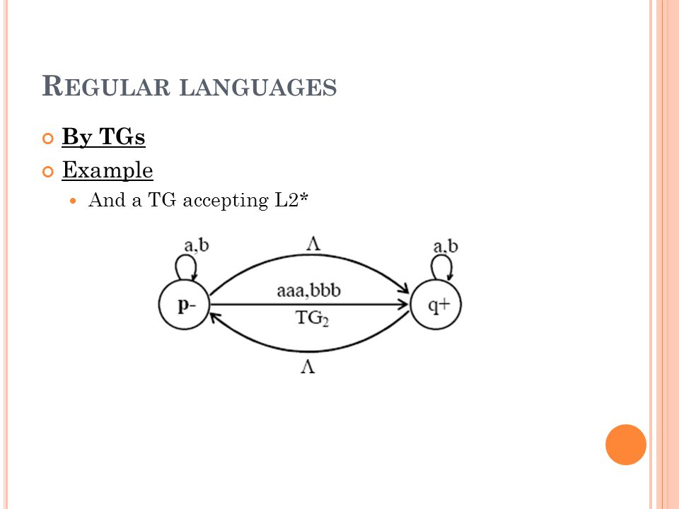 R EGULAR LANGUAGES By TGs Example And a TG accepting L2*