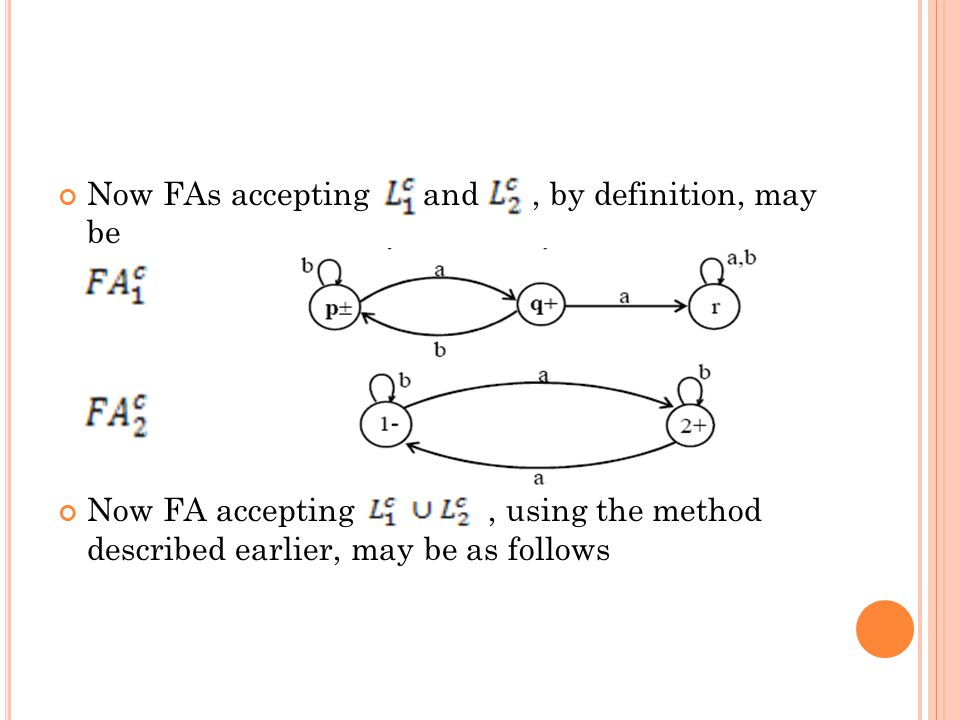 Now FAs accepting and, by definition, may be Now FA accepting, using the method described earlier, may be as follows