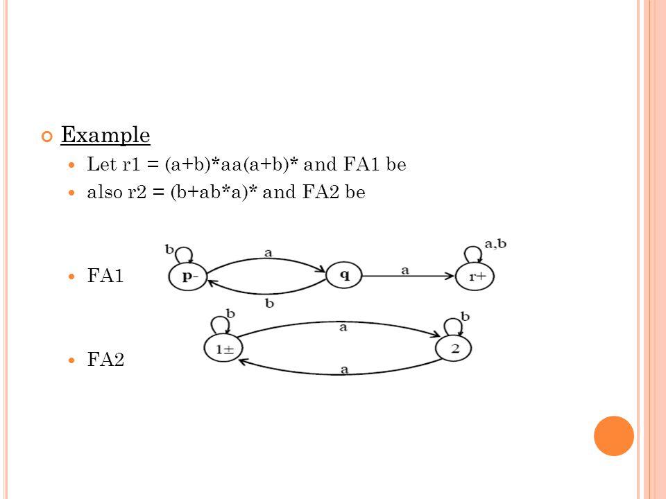 Example Let r1 = (a+b)*aa(a+b)* and FA1 be also r2 = (b+ab*a)* and FA2 be FA1 FA2