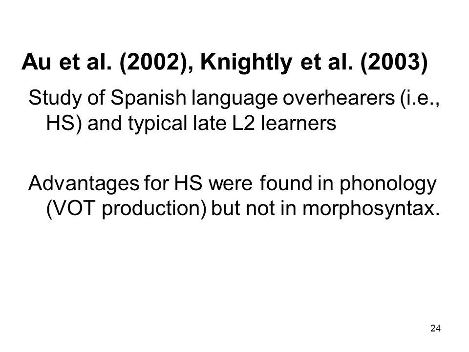 24 Au et al. (2002), Knightly et al.