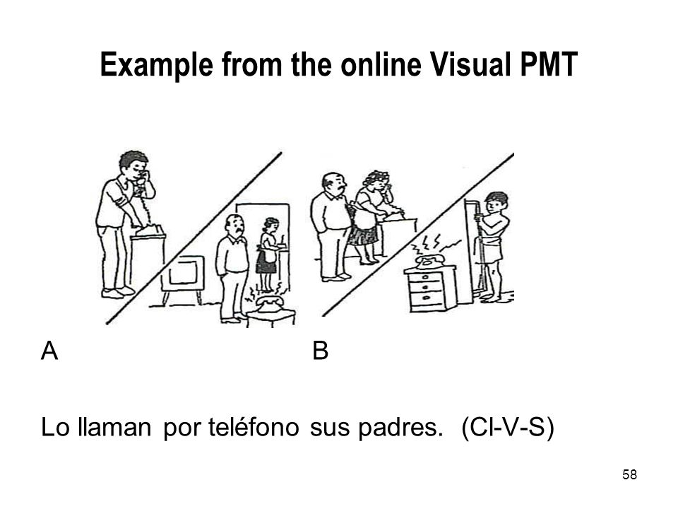 58 Example from the online Visual PMT AB Lo llaman por teléfono sus padres. (Cl-V-S)