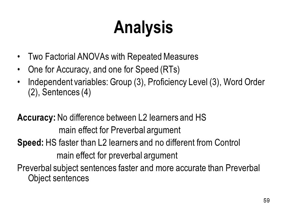 59 Analysis Two Factorial ANOVAs with Repeated Measures One for Accuracy, and one for Speed (RTs) Independent variables: Group (3), Proficiency Level (3), Word Order (2), Sentences (4) Accuracy: No difference between L2 learners and HS main effect for Preverbal argument Speed: HS faster than L2 learners and no different from Control main effect for preverbal argument Preverbal subject sentences faster and more accurate than Preverbal Object sentences