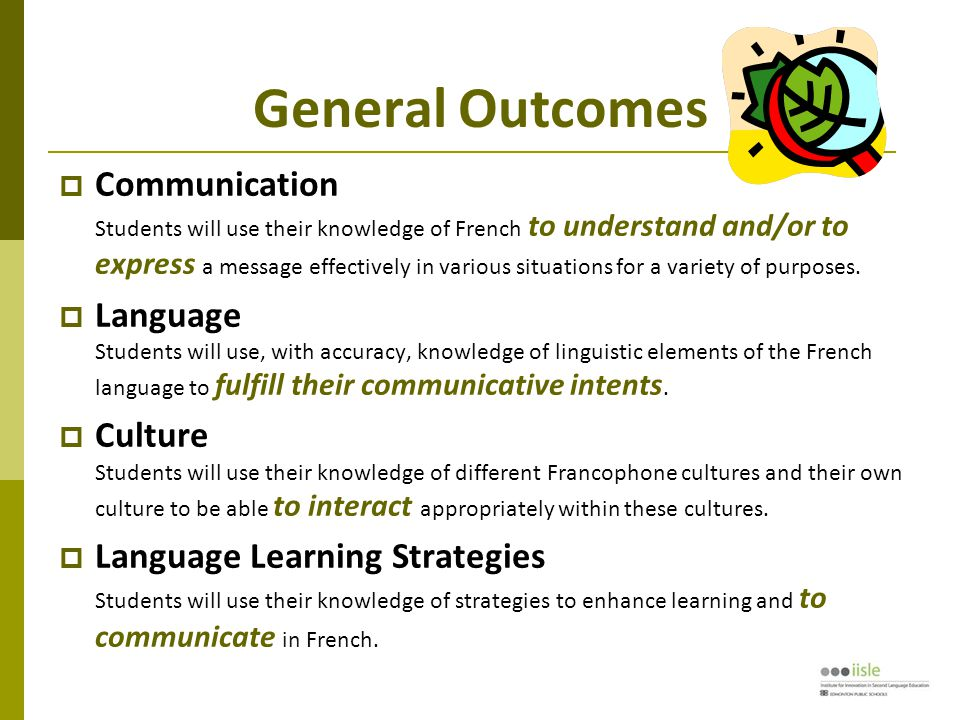 General Outcomes  Communication Students will use their knowledge of French to understand and/or to express a message effectively in various situations for a variety of purposes.