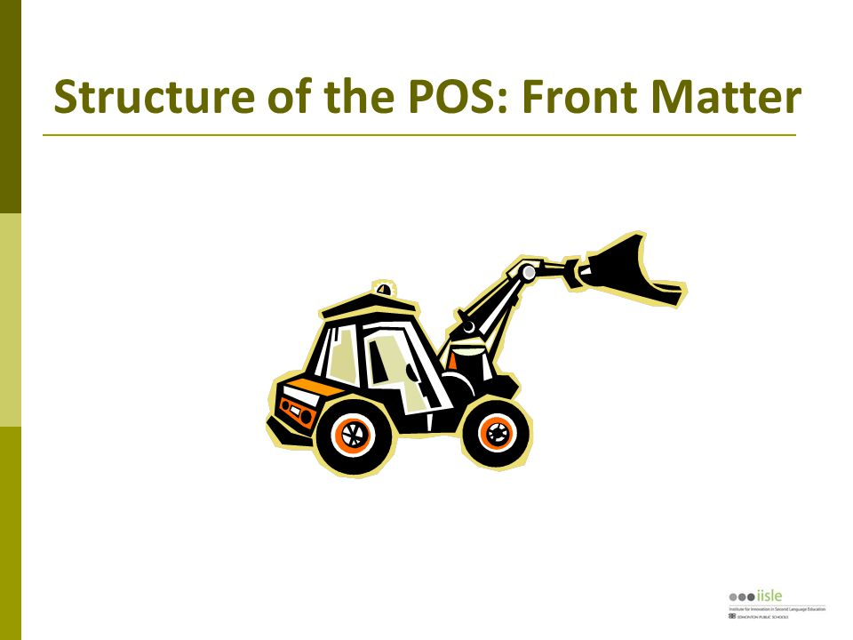 Structure of the POS: Front Matter