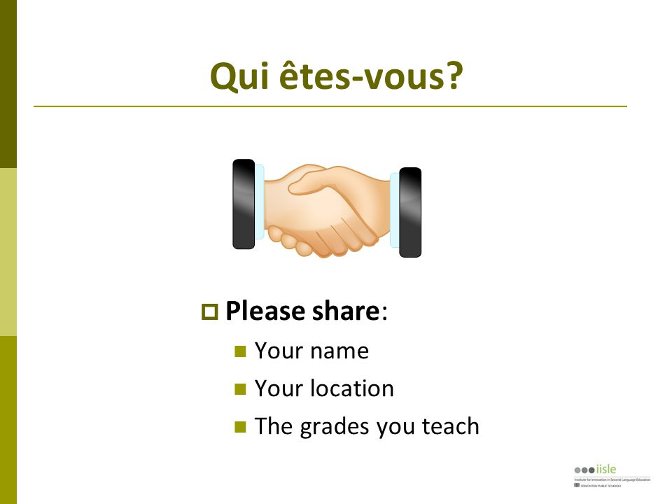 Component: Fields of Experience  Provide the framework for language acquisition  Goal is NOT to learn about a topic in French, but to learn enough about it to function in that context  Fields are mandated, but time of instruction is not  Includes 'and other areas of interest'