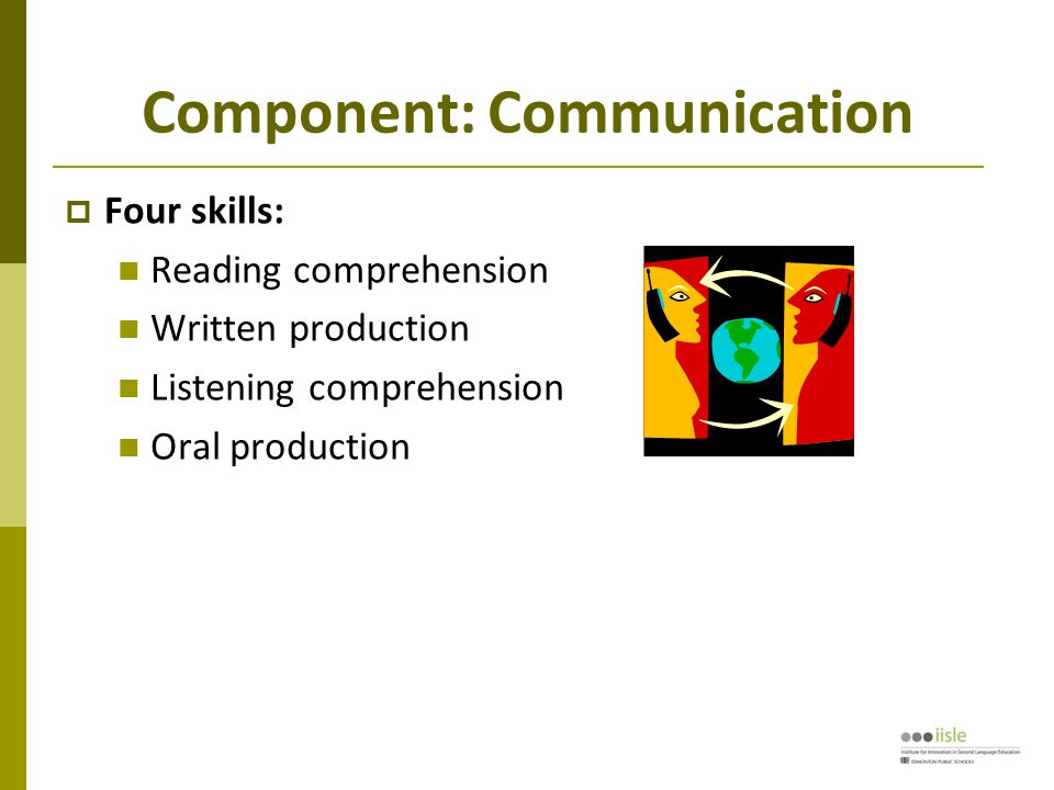 Component: Communication  Four skills: Reading comprehension Written production Listening comprehension Oral production