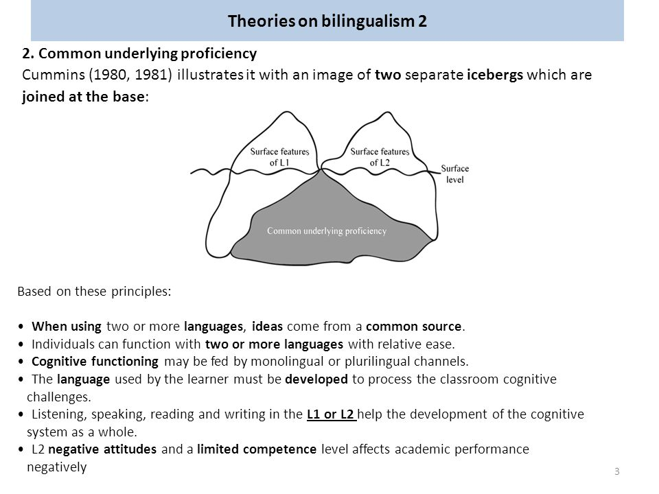 Theories on bilingualism 2 2. Common underlying proficiency Cummins (1980, 1981) illustrates it with an image of two separate icebergs which are joine