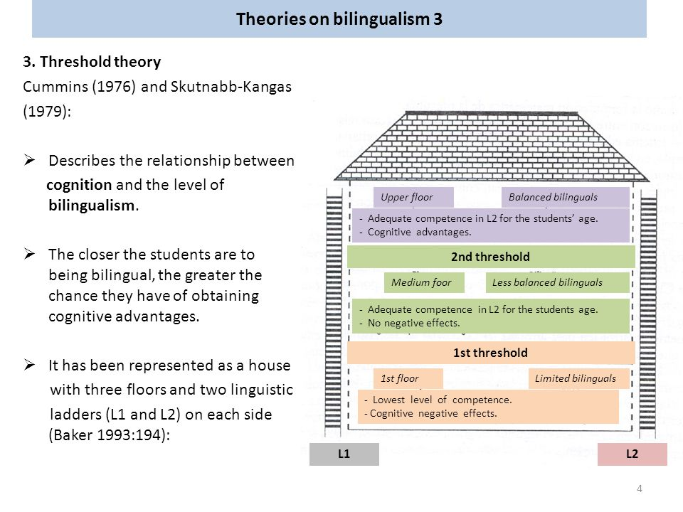 Theories on bilingualism 3 3. Threshold theory Cummins (1976) and Skutnabb-Kangas (1979):  Describes the relationship between cognition and the level
