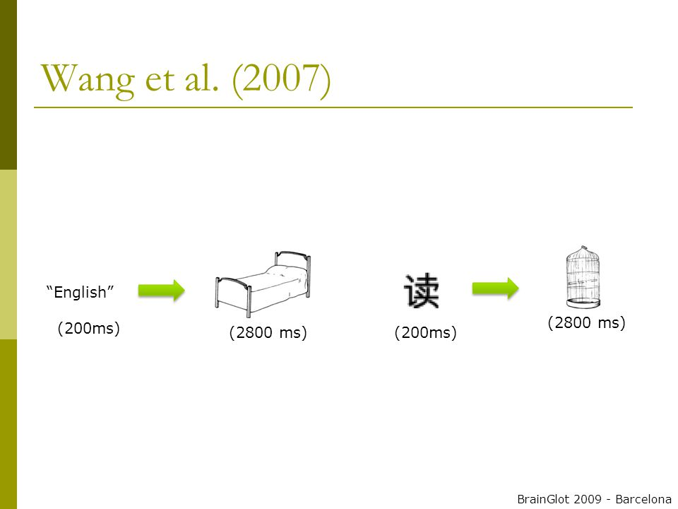 Wang et al. (2007) English (200ms) (2800 ms) BrainGlot 2009 - Barcelona