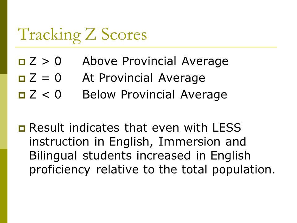 Tracking Z Scores  Z > 0 Above Provincial Average  Z = 0 At Provincial Average  Z < 0 Below Provincial Average  Result indicates that even with LE