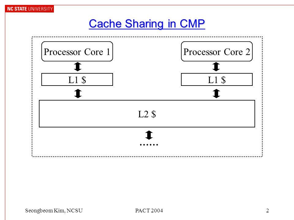 PACT 20042Seongbeom Kim, NCSU L2 $ Cache Sharing in CMP L1 $ …… Processor Core 1Processor Core 2 L1 $