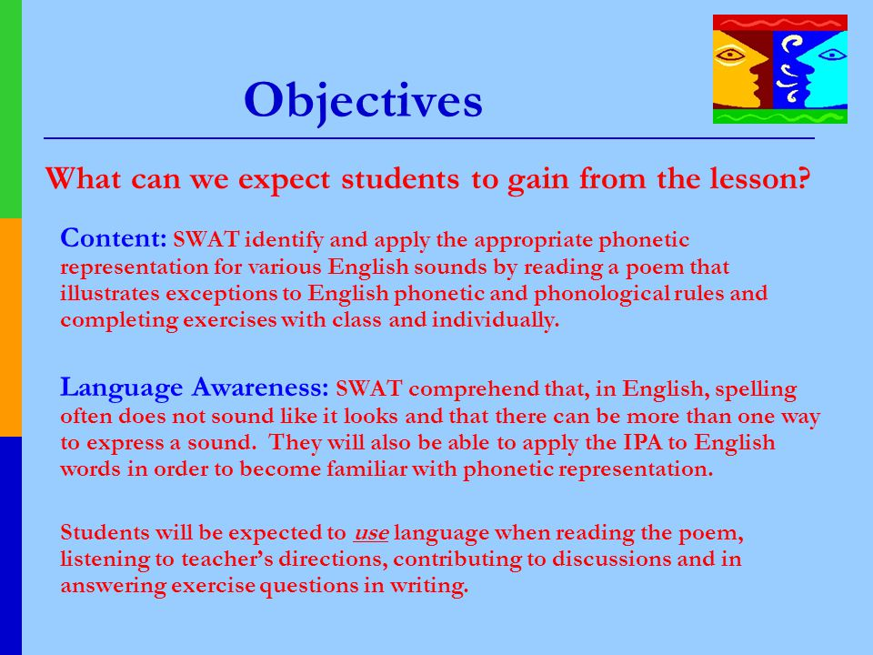 Objectives What can we expect students to gain from the lesson? Content: SWAT identify and apply the appropriate phonetic representation for various E
