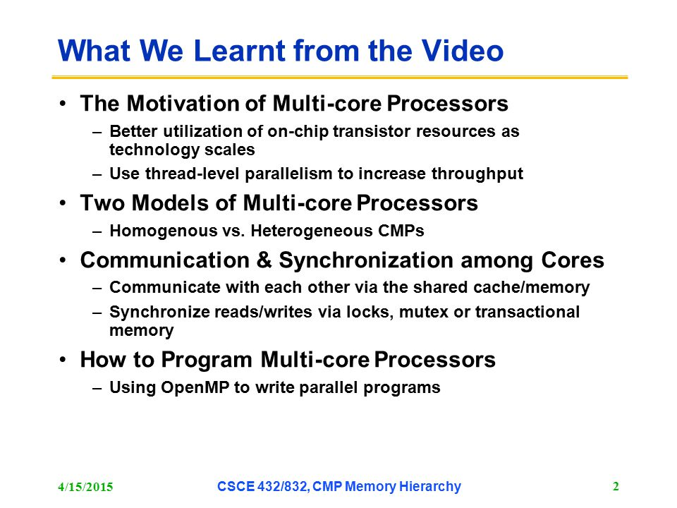 The RF-Interconnect [2] 4/15/2015 CSCE 432/832, CMP Memory Hierarchy 23