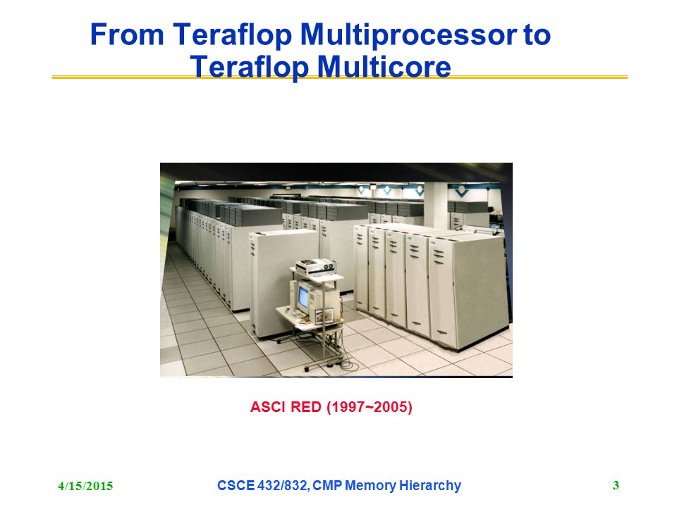From Teraflop Multiprocessor to Teraflop Multicore 4/15/2015 CSCE 432/832, CMP Memory Hierarchy 3 ASCI RED (1997~2005)