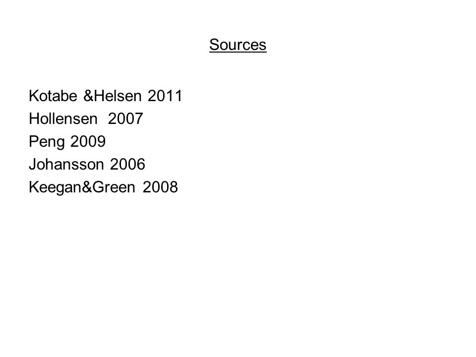 Sources Kotabe &Helsen 2011 Hollensen 2007 Peng 2009 Johansson 2006 Keegan&Green 2008