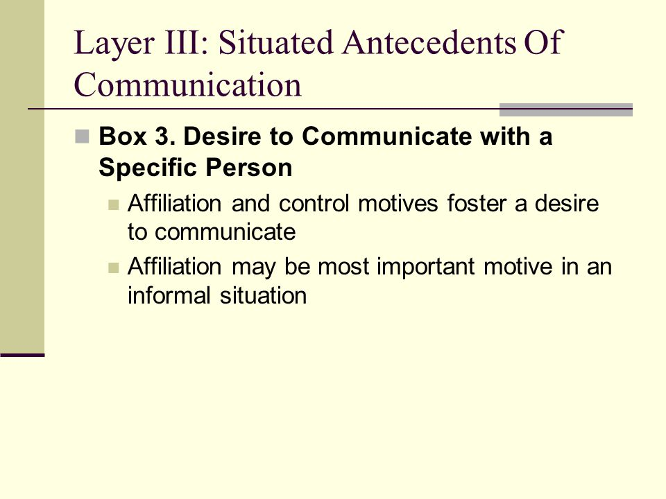 Layer III: Situated Antecedents Of Communication Box 3.