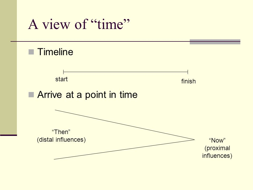A view of time Timeline Arrive at a point in time start finish Then (distal influences) Now (proximal influences)