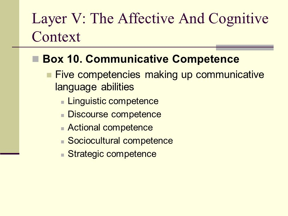 Layer I Social and Individual Context Affective-Cognitive Context Motivational Propensities Behavioural Intention Communication Behaviour Situated Antecedents Layer I Layer II Layer III Layer IV Layer VI Layer V Social Situation Intergroup Attitudes Intergroup Climate Personality Communicative Competence L2 Self-Confidence Interpersonal Motivation State Communicative Self-Confidence Desire to communicate with a specific person L2 Use Willingness to Communicate Intergroup Motivation 1 2 3 4 5 67 8 910 1112