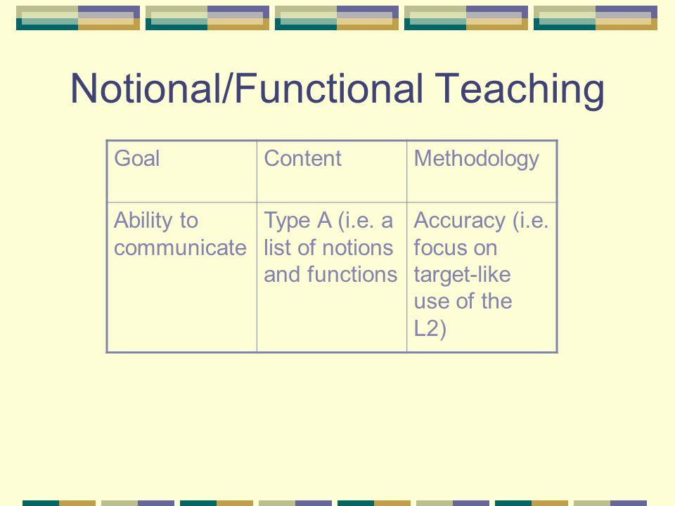 Task-Based Teaching GoalContentMethodology Ability to communicate Type B (i.e.